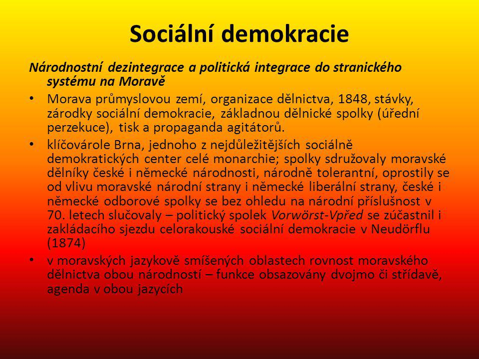Sociální demokracie Národnostní dezintegrace a politická integrace do stranického systému na Moravě.
