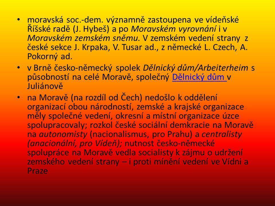 moravská soc. -dem. významně zastoupena ve vídeňské Říšské radě (J