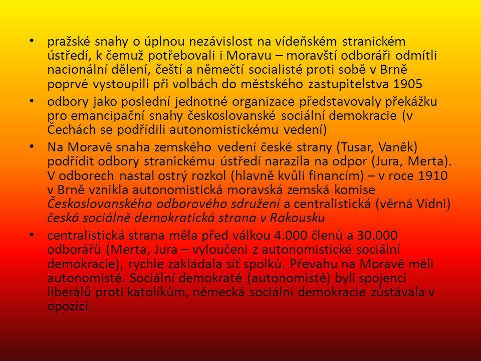 pražské snahy o úplnou nezávislost na vídeňském stranickém ústředí, k čemuž potřebovali i Moravu – moravští odboráři odmítli nacionální dělení, čeští a němečtí socialisté proti sobě v Brně poprvé vystoupili při volbách do městského zastupitelstva 1905
