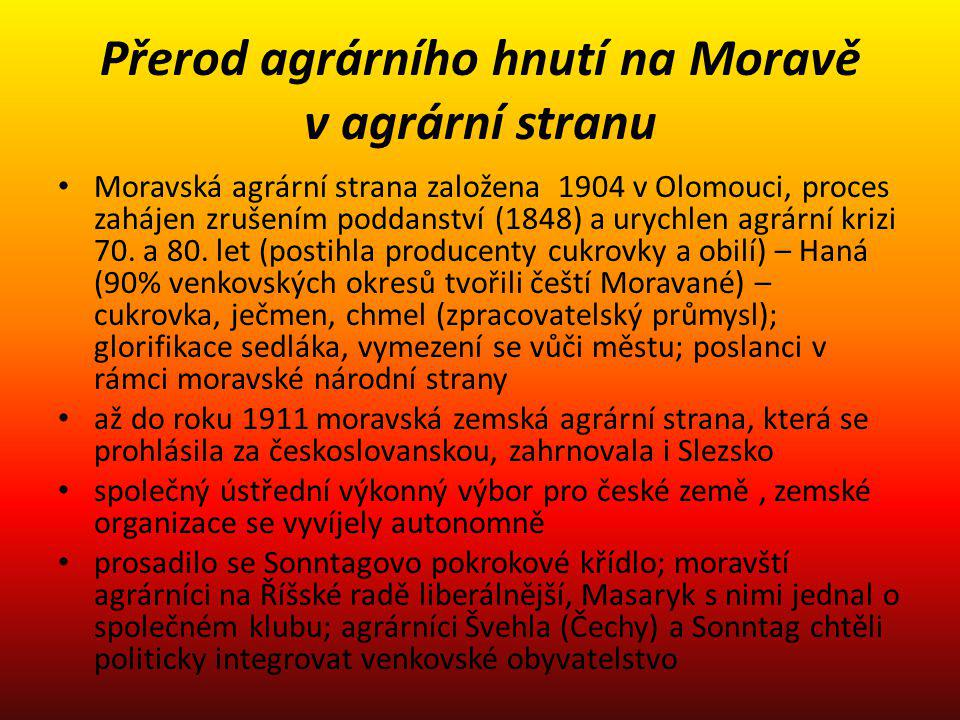 Přerod agrárního hnutí na Moravě v agrární stranu