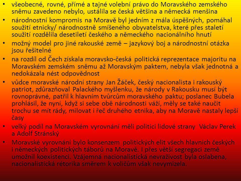 všeobecné, rovné, přímé a tajné volební právo do Moravského zemského sněmu zavedeno nebylo, ustálila se česká většina a německá menšina