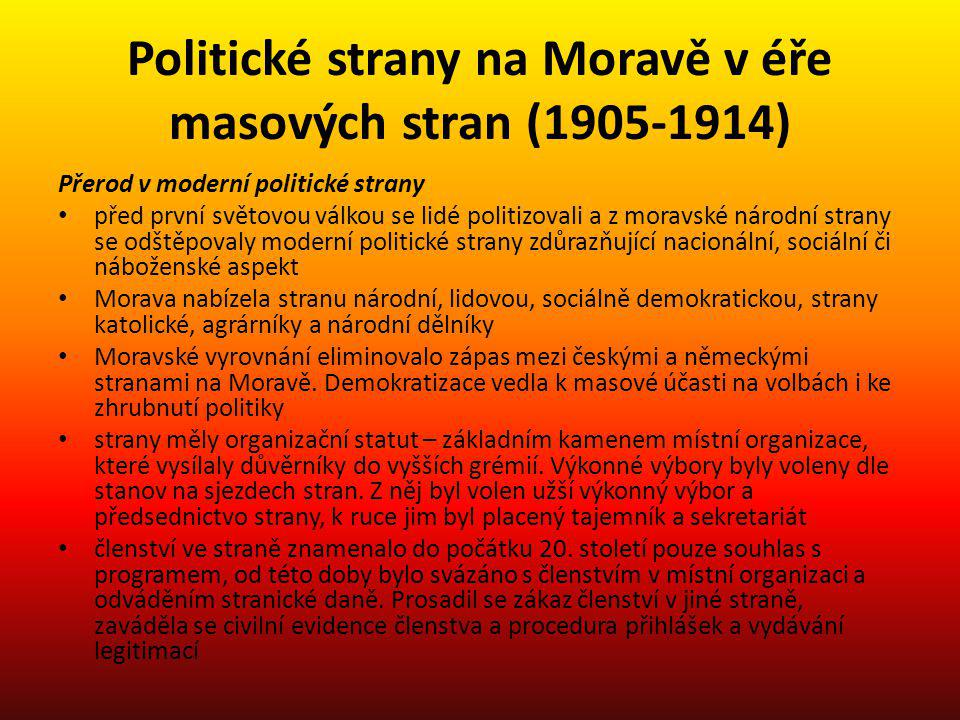 Politické strany na Moravě v éře masových stran (1905-1914)
