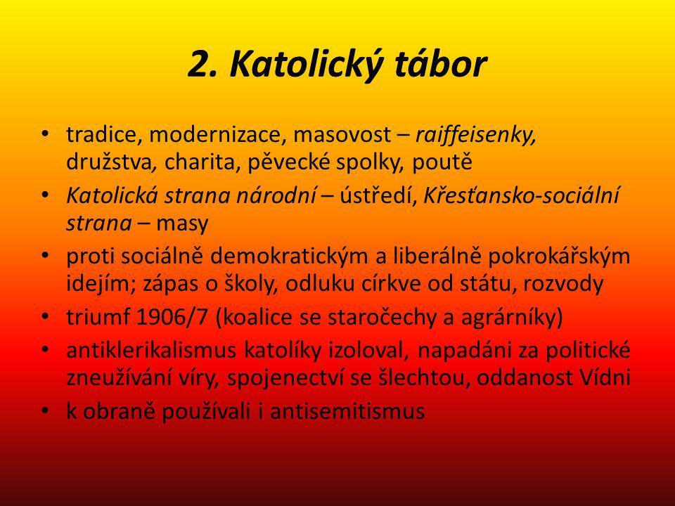 2. Katolický tábor tradice, modernizace, masovost – raiffeisenky, družstva, charita, pěvecké spolky, poutě.
