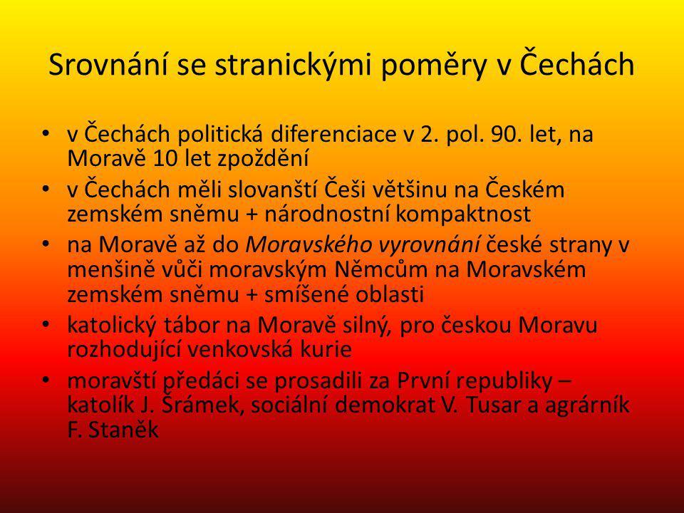 Srovnání se stranickými poměry v Čechách
