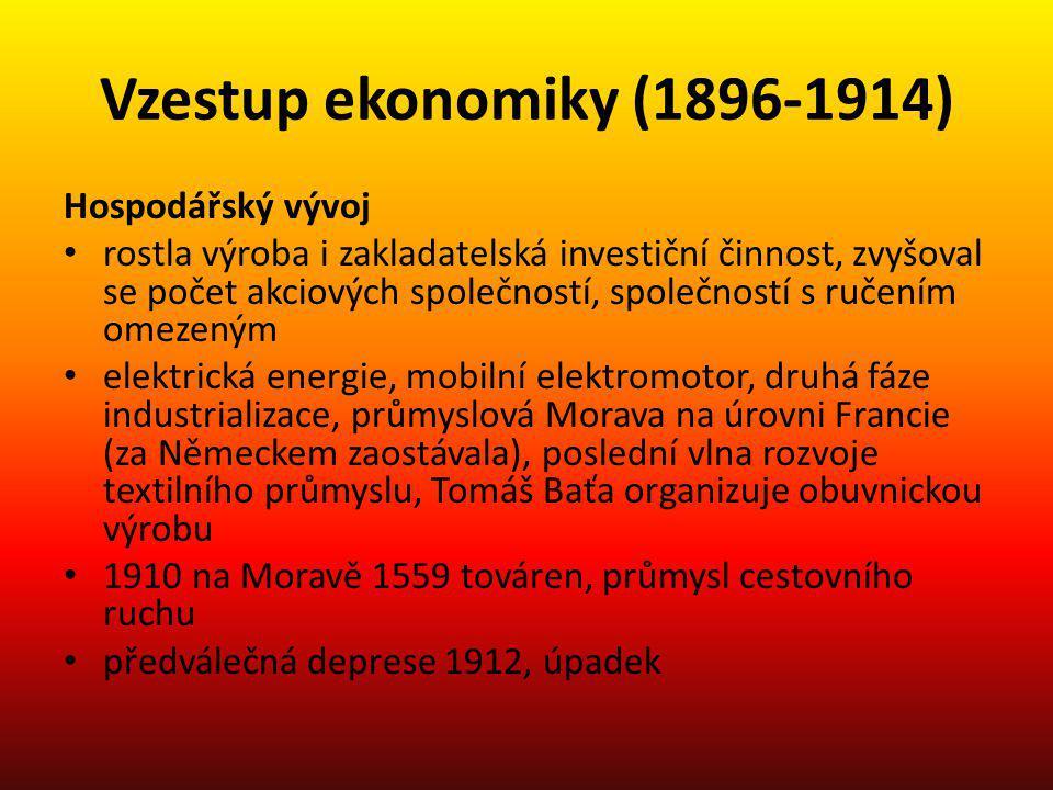 Vzestup ekonomiky (1896-1914) Hospodářský vývoj