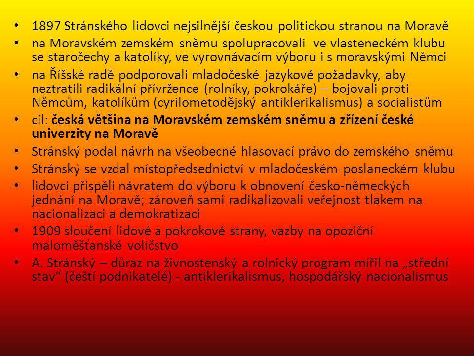 1897 Stránského lidovci nejsilnější českou politickou stranou na Moravě