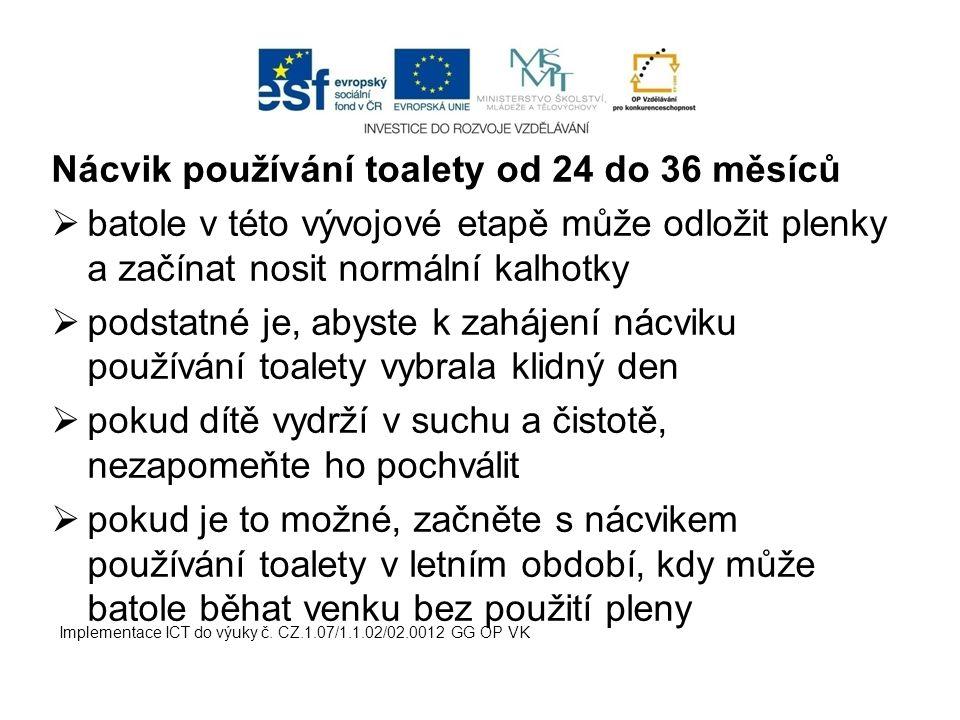 Nácvik používání toalety od 24 do 36 měsíců