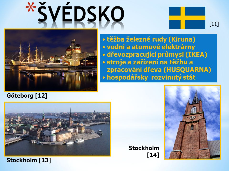 ŠVÉDSKO těžba železné rudy (Kiruna) vodní a atomové elektrárny