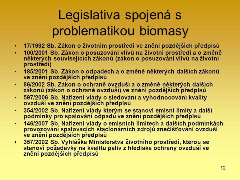 Legislativa spojená s problematikou biomasy