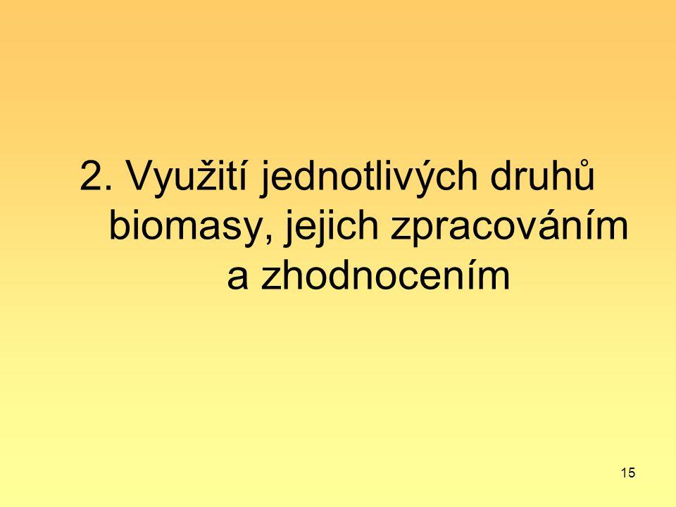 2. Využití jednotlivých druhů biomasy, jejich zpracováním a zhodnocením