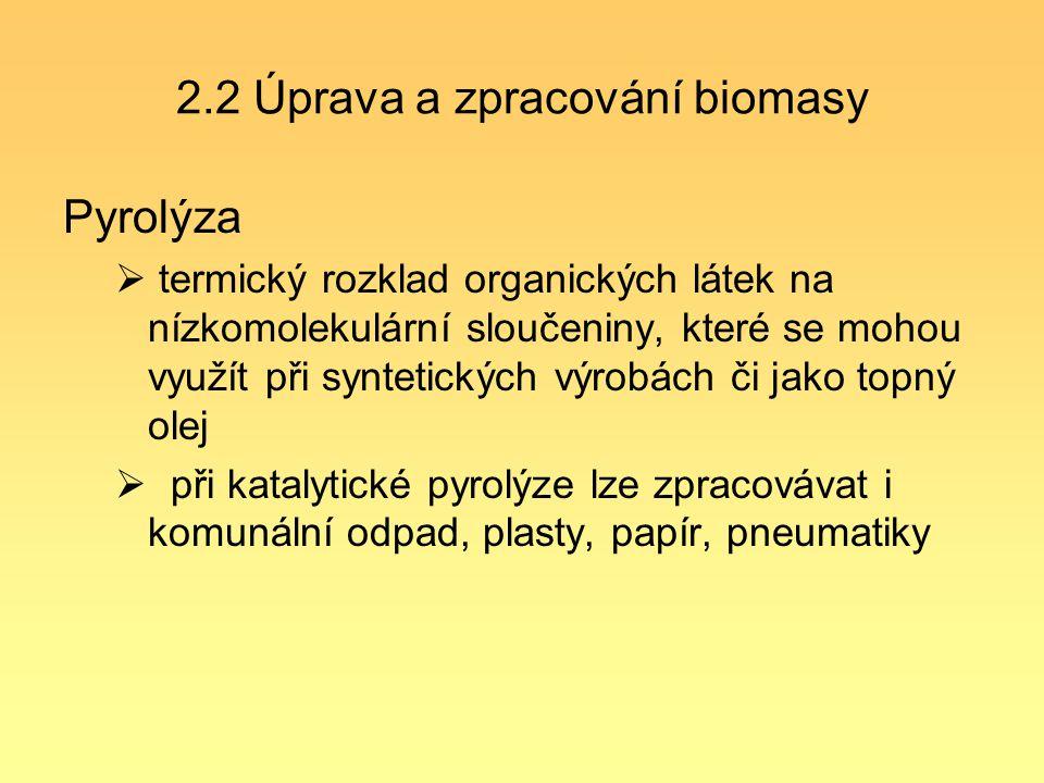 2.2 Úprava a zpracování biomasy