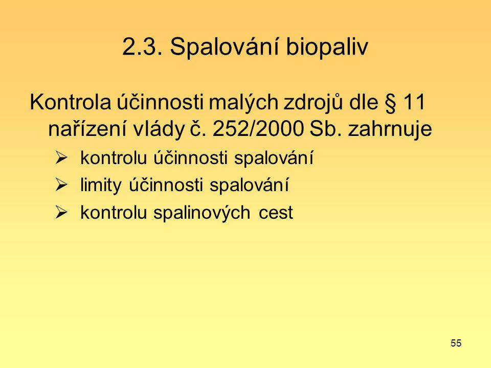 2.3. Spalování biopaliv Kontrola účinnosti malých zdrojů dle § 11 nařízení vlády č. 252/2000 Sb. zahrnuje.