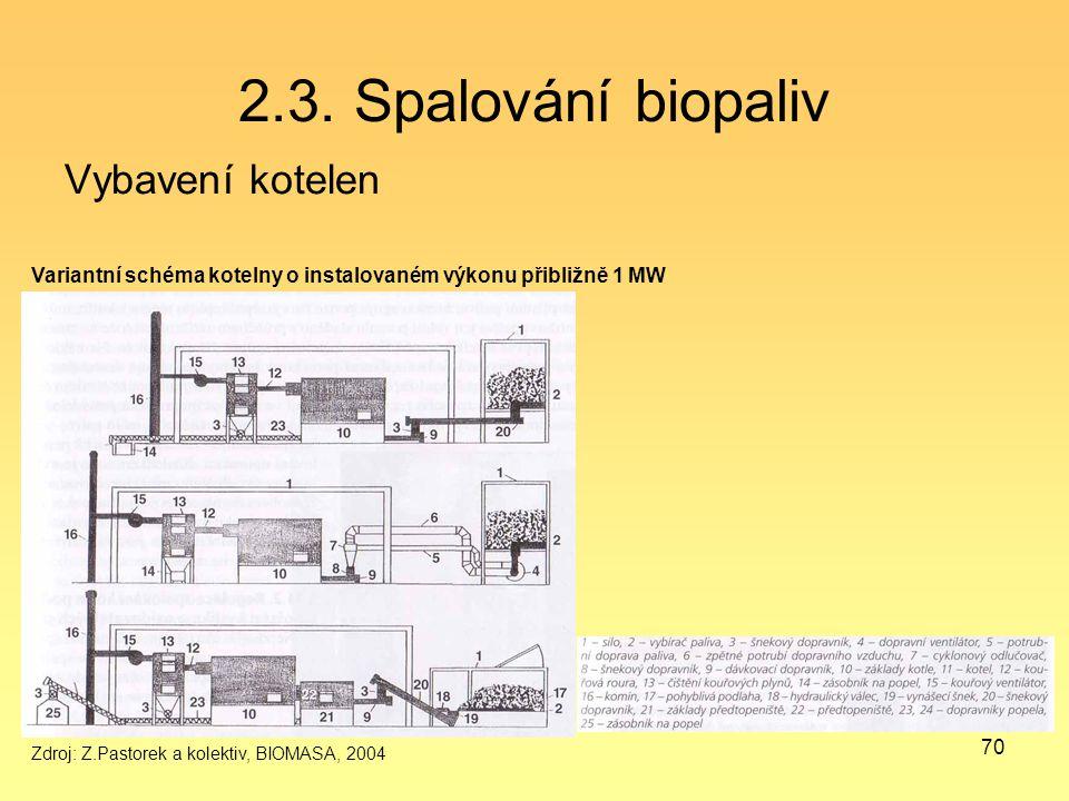2.3. Spalování biopaliv Vybavení kotelen