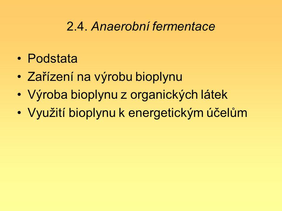 2.4. Anaerobní fermentace Podstata. Zařízení na výrobu bioplynu. Výroba bioplynu z organických látek.