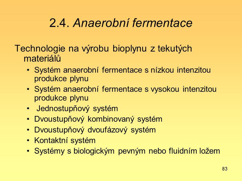2.4. Anaerobní fermentace Technologie na výrobu bioplynu z tekutých materiálů. Systém anaerobní fermentace s nízkou intenzitou produkce plynu.