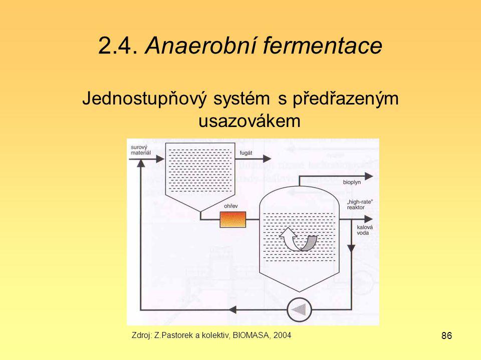 Jednostupňový systém s předřazeným usazovákem