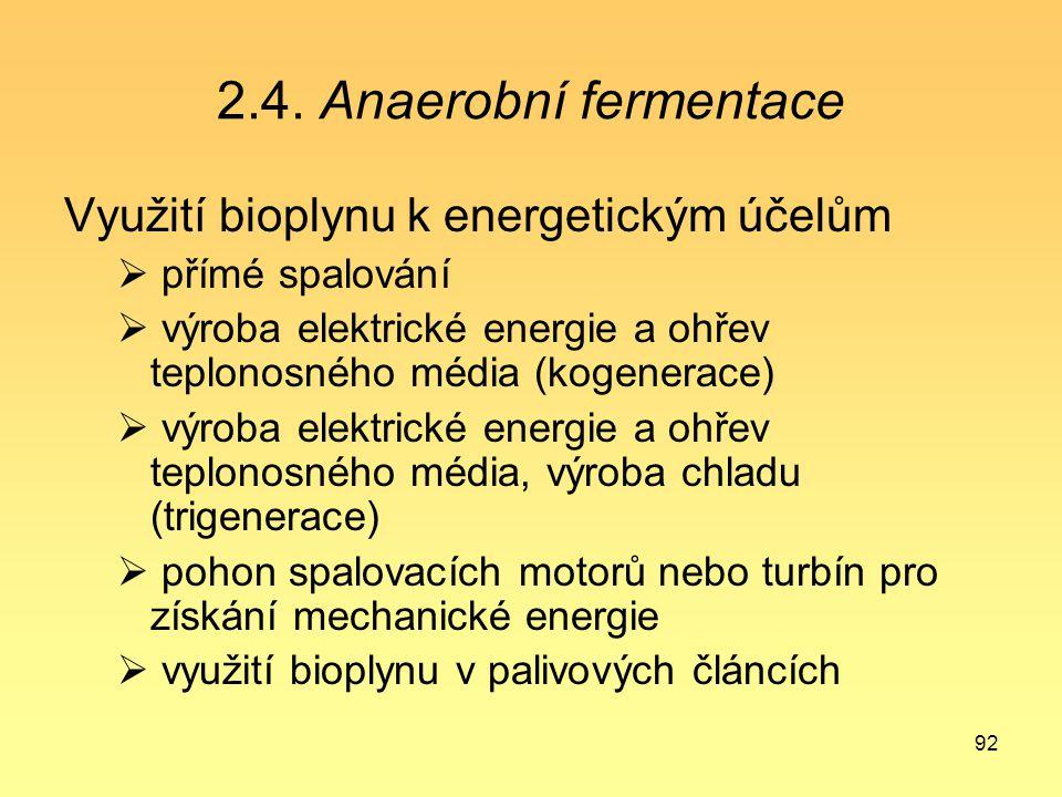 2.4. Anaerobní fermentace Využití bioplynu k energetickým účelům