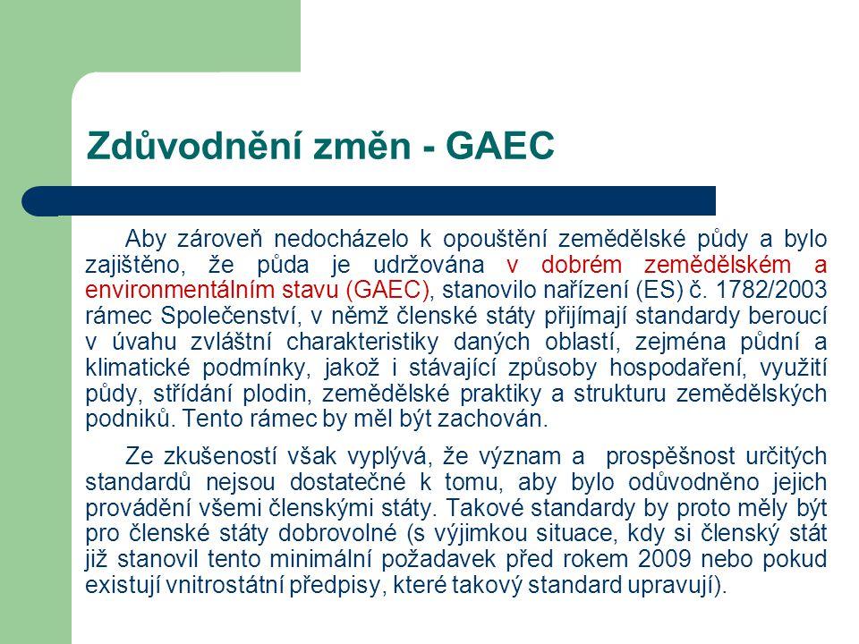 Zdůvodnění změn - GAEC