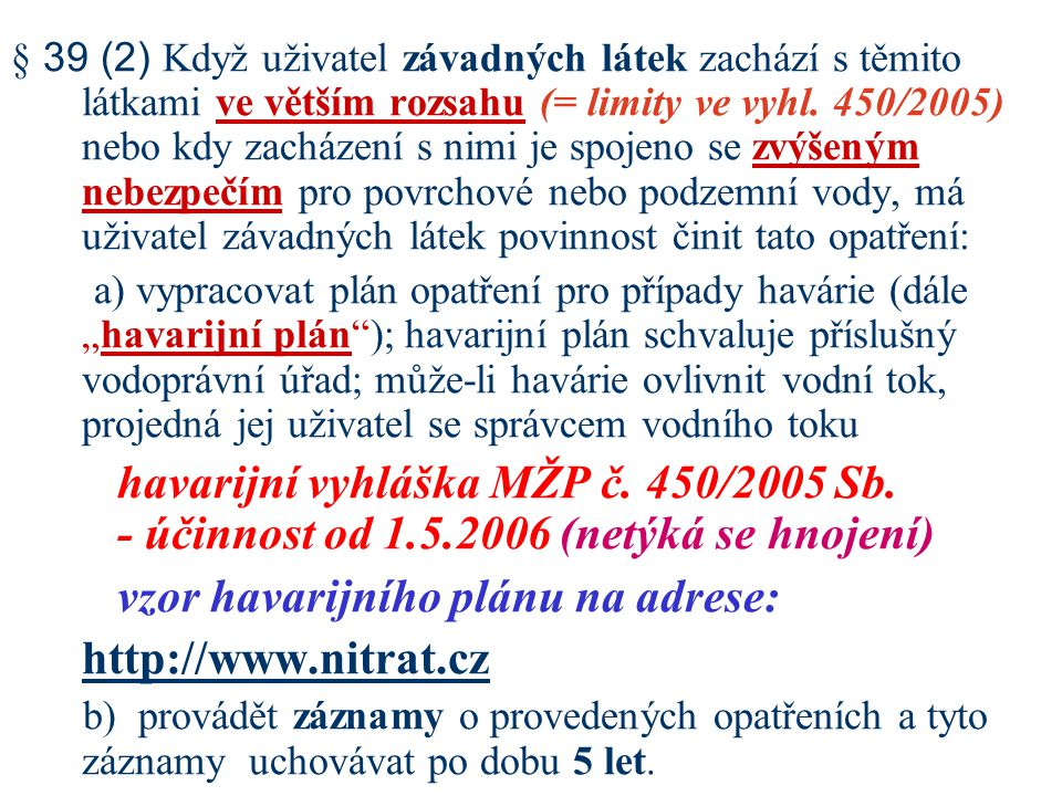 vzor havarijního plánu na adrese: http://www.nitrat.cz