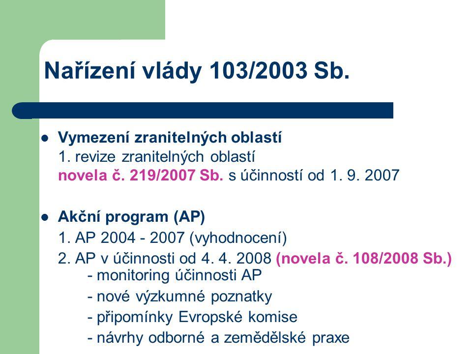 Nařízení vlády 103/2003 Sb. Vymezení zranitelných oblastí 1. revize zranitelných oblastí novela č. 219/2007 Sb. s účinností od 1. 9. 2007.