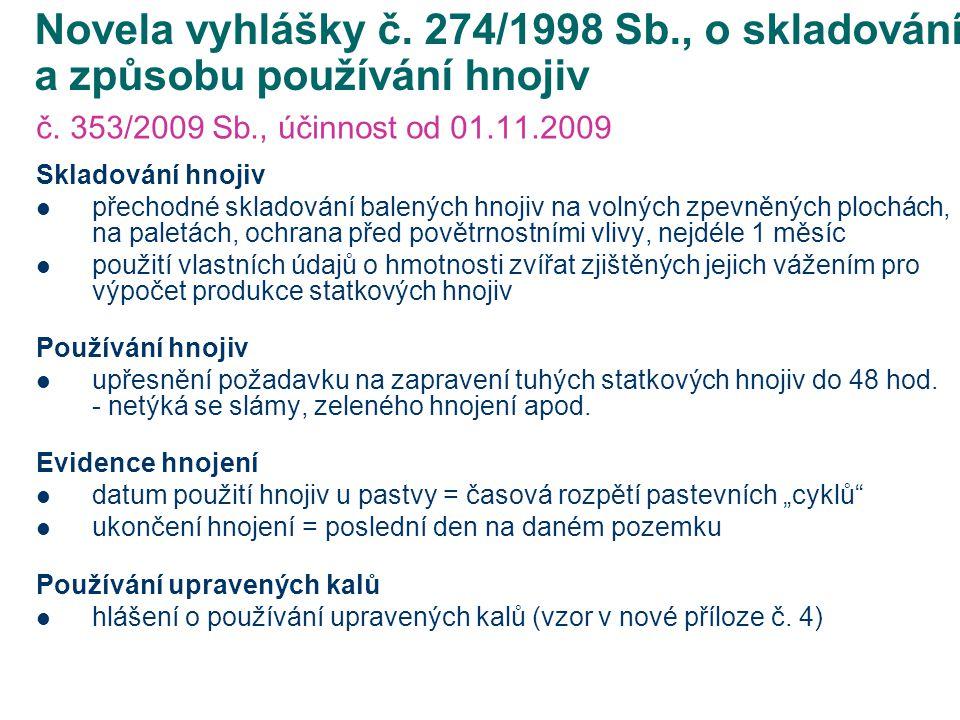 Novela vyhlášky č. 274/1998 Sb., o skladování a způsobu používání hnojiv