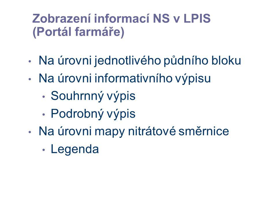 Zobrazení informací NS v LPIS (Portál farmáře)