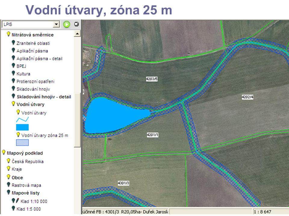 Vodní útvary, zóna 25 m