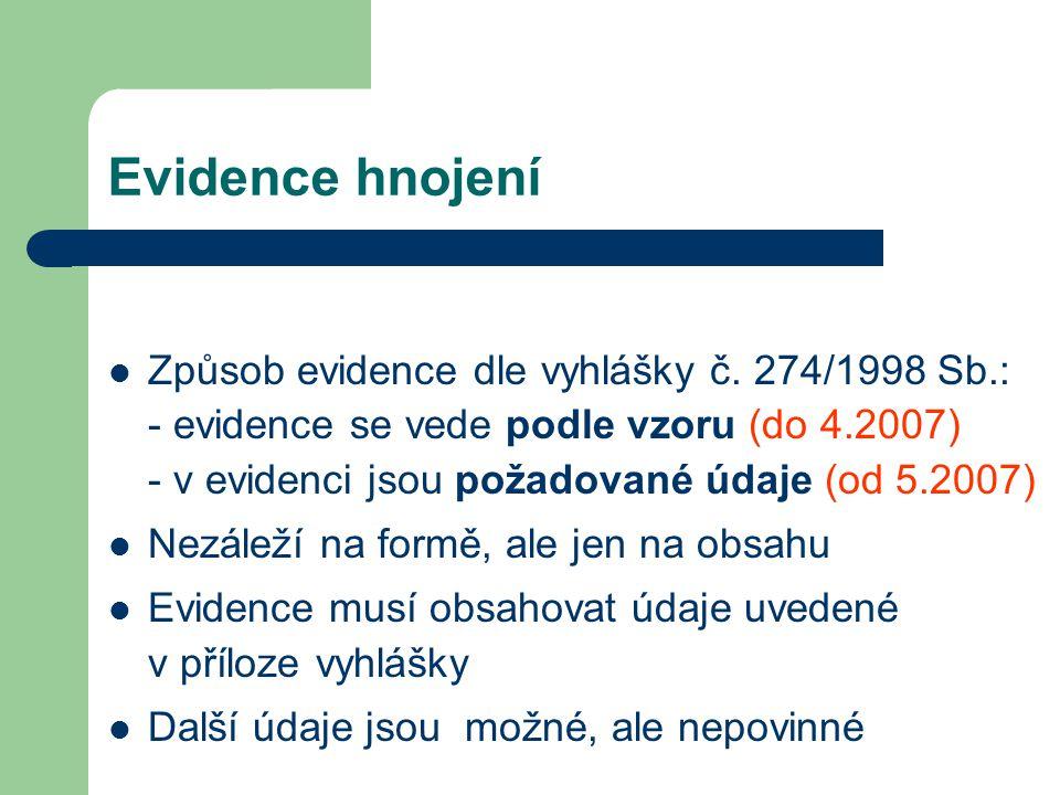 Evidence hnojení