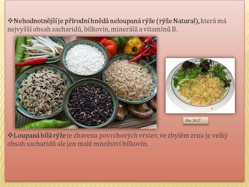 Nehodnotnější je přírodní hnědá neloupaná rýže (rýže Natural), která má nejvyšší obsah sacharidů, bílkovin, minerálů a vitamínů B.