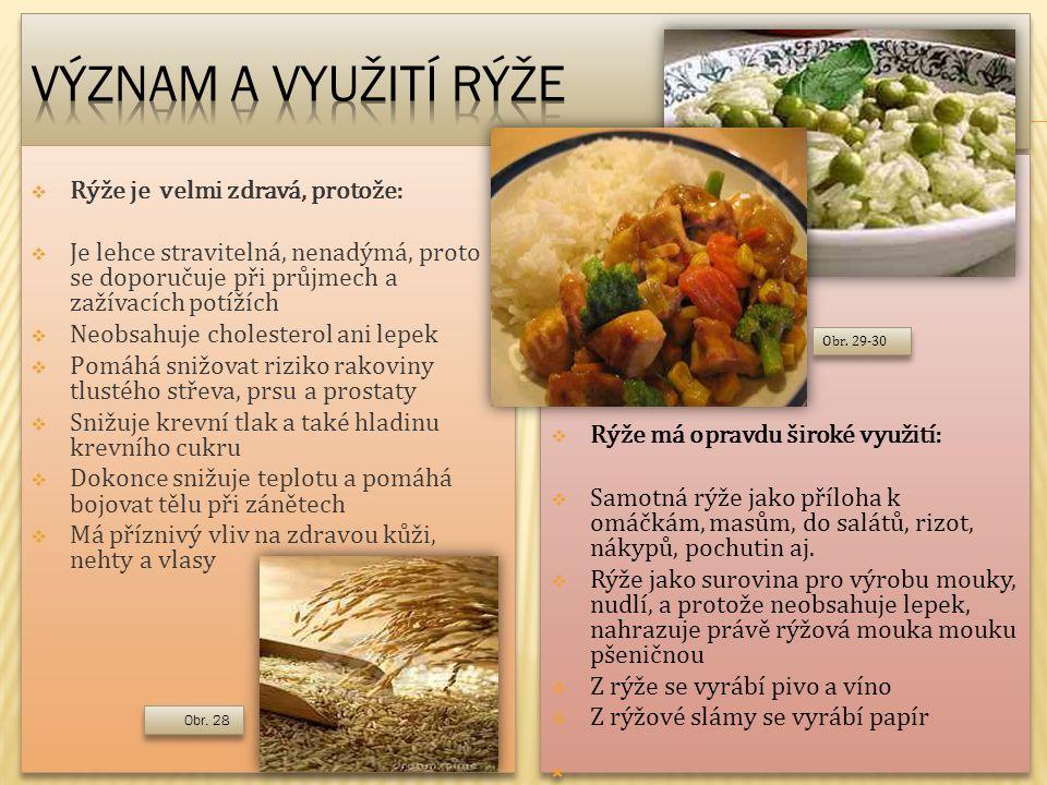 Význam a využití rýže Rýže je velmi zdravá, protože:
