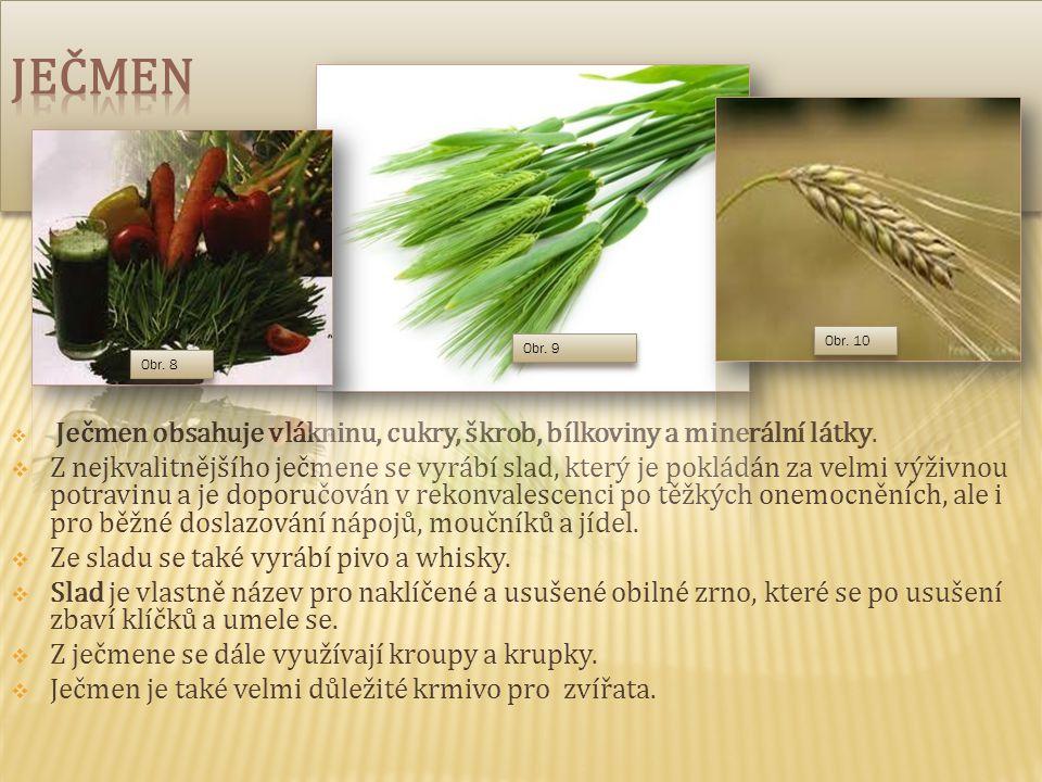 Ječmen Obr. 10. Obr. 9. Obr. 8. Ječmen obsahuje vlákninu, cukry, škrob, bílkoviny a minerální látky.