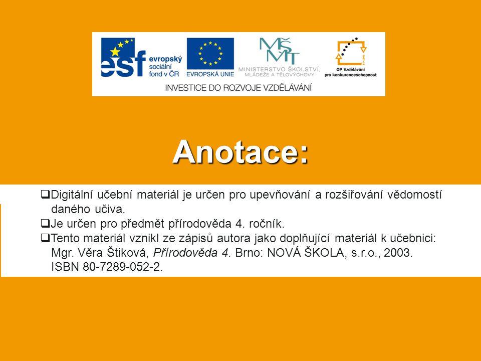 Anotace: Digitální učební materiál je určen pro upevňování a rozšiřování vědomostí daného učiva. Je určen pro předmět přírodověda 4. ročník.