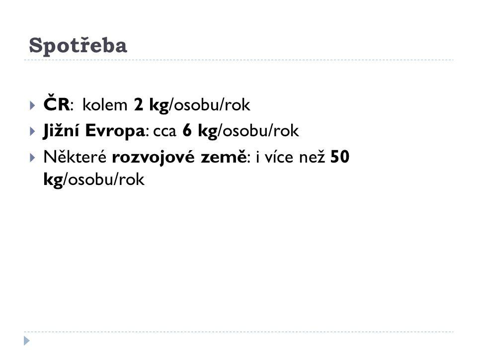 Spotřeba ČR: kolem 2 kg/osobu/rok Jižní Evropa: cca 6 kg/osobu/rok