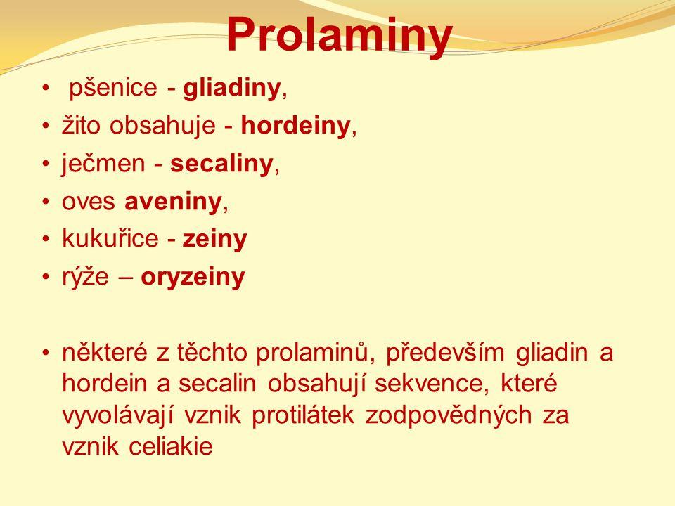 Prolaminy pšenice - gliadiny, žito obsahuje - hordeiny,