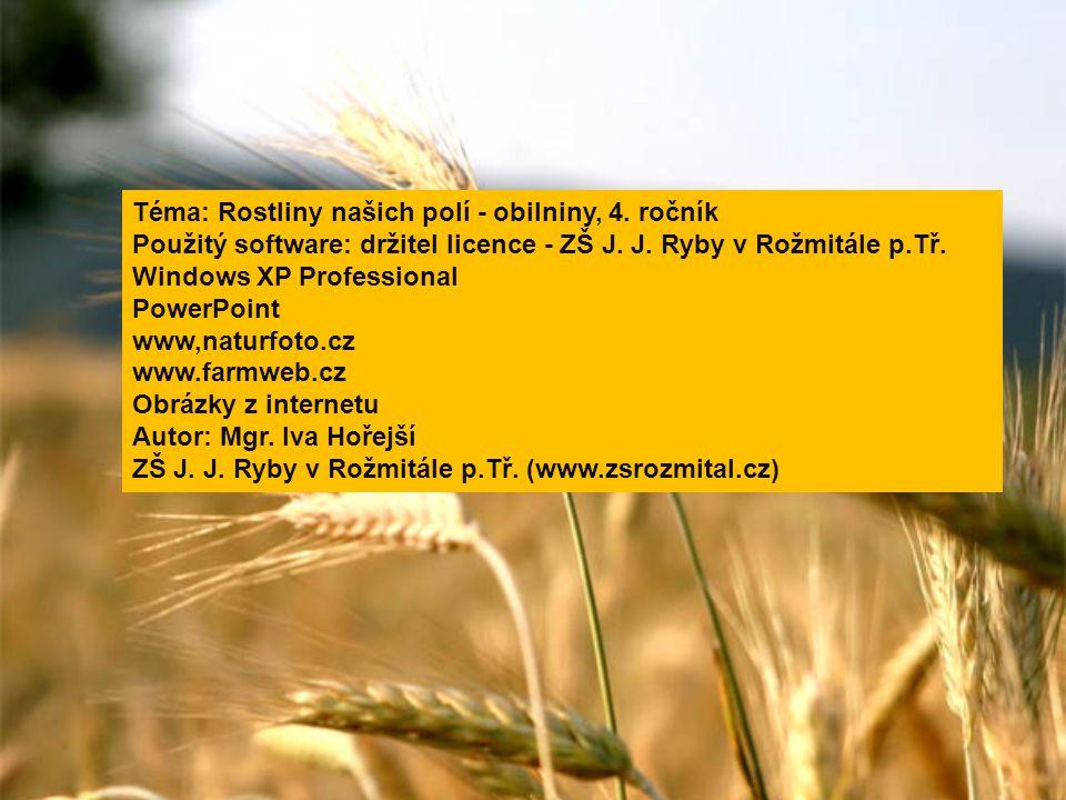 Téma: Rostliny našich polí - obilniny, 4. ročník