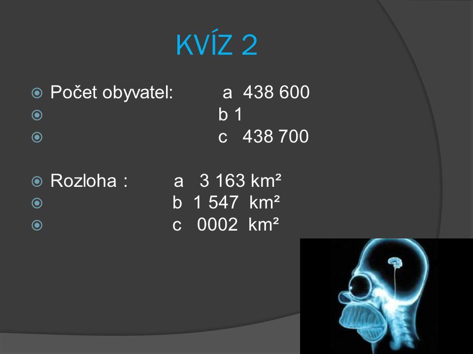 KVÍZ 2 Počet obyvatel: a 438 600 b 1 c 438 700 Rozloha : a 3 163 km²