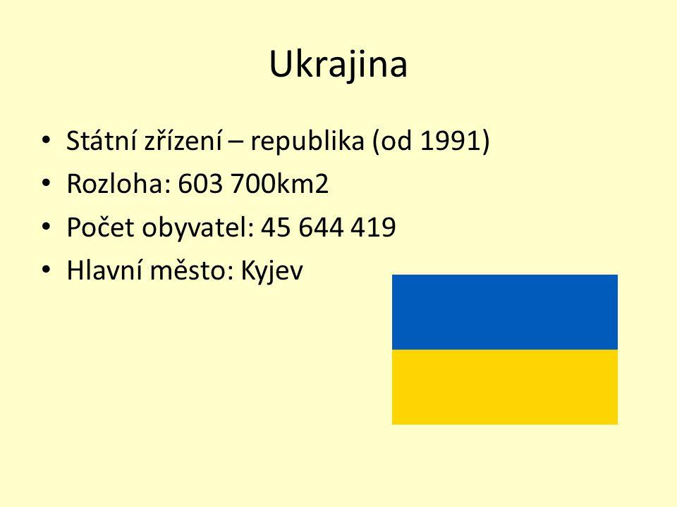 Ukrajina Státní zřízení – republika (od 1991) Rozloha: 603 700km2