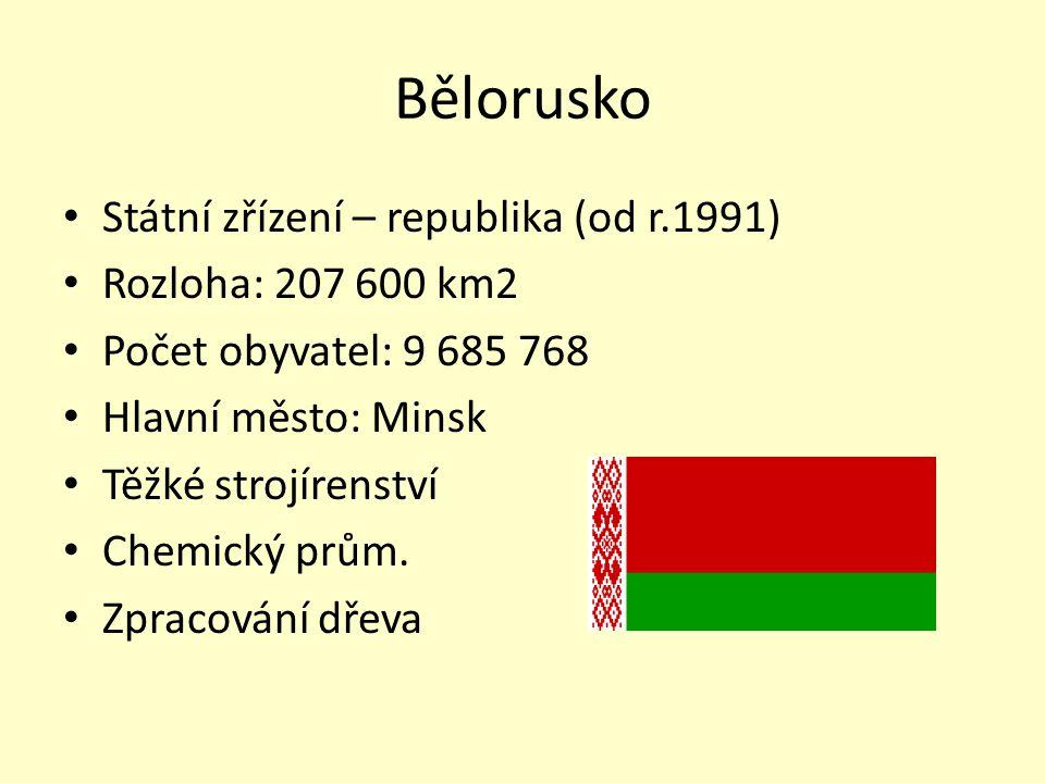 Bělorusko Státní zřízení – republika (od r.1991) Rozloha: 207 600 km2