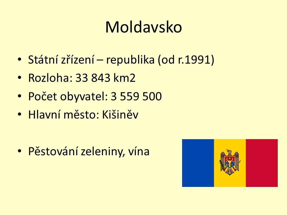 Moldavsko Státní zřízení – republika (od r.1991) Rozloha: 33 843 km2