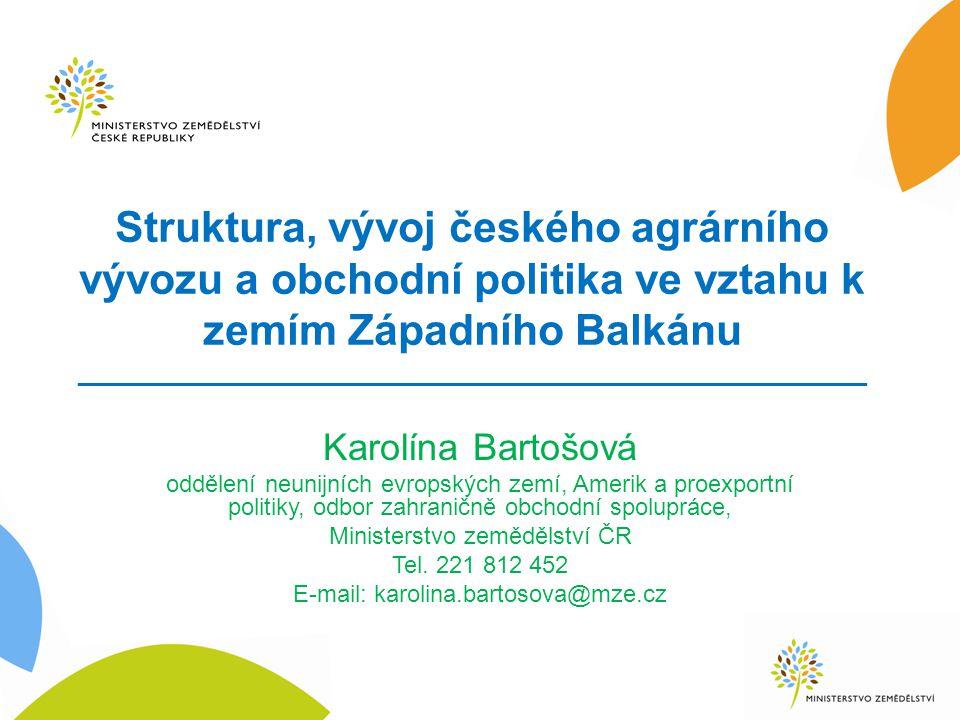 Struktura, vývoj českého agrárního vývozu a obchodní politika ve vztahu k zemím Západního Balkánu _____________________________________________________