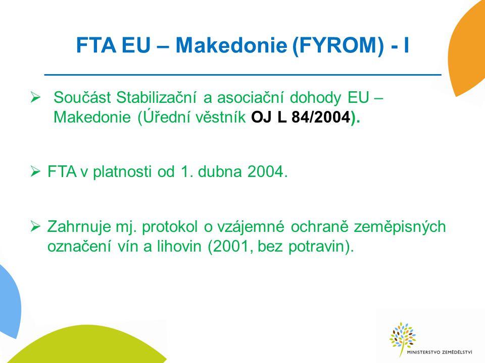 FTA EU – Makedonie (FYROM) - I