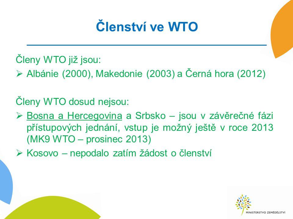 Členství ve WTO Členy WTO již jsou: