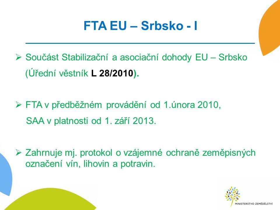 FTA EU – Srbsko - I Součást Stabilizační a asociační dohody EU – Srbsko. (Úřední věstník L 28/2010).