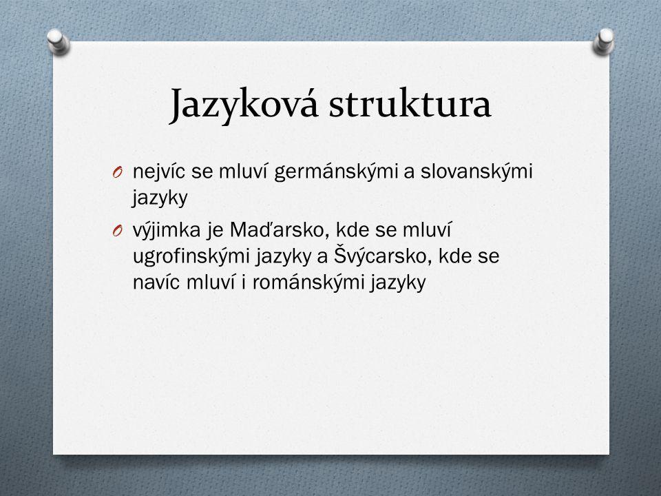 Jazyková struktura nejvíc se mluví germánskými a slovanskými jazyky