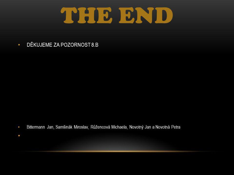 THE END DĚKUJEME ZA POZORNOST 8.B