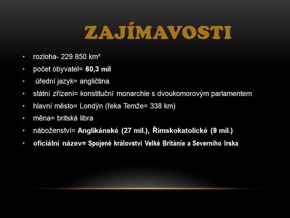 Zajímavosti rozloha- 229 850 km² počet obyvatel= 60,3 mil