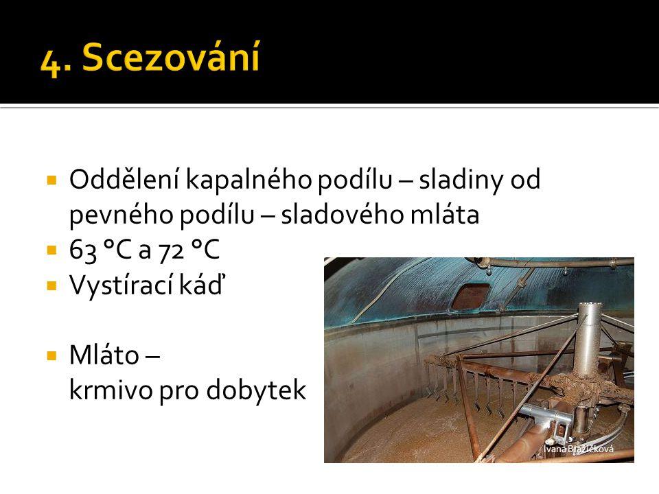 4. Scezování Oddělení kapalného podílu – sladiny od pevného podílu – sladového mláta. 63 °C a 72 °C.