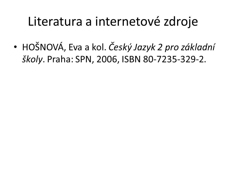 Literatura a internetové zdroje