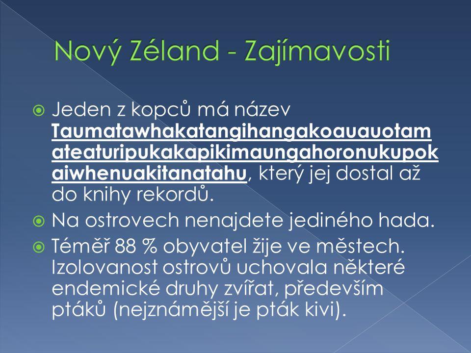 Nový Zéland - Zajímavosti