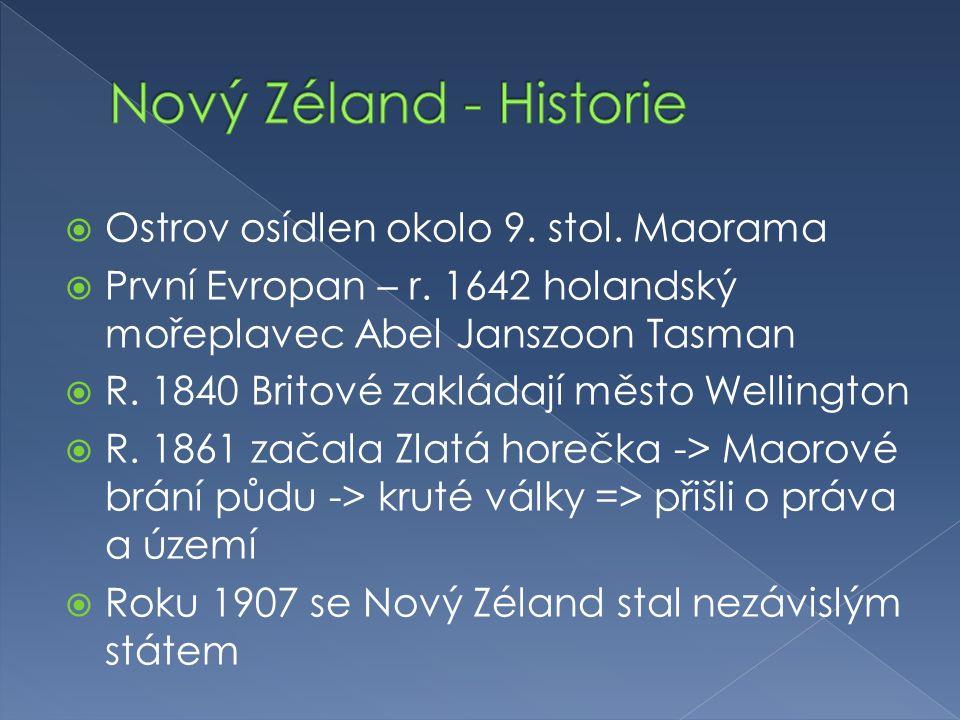 Nový Zéland - Historie Ostrov osídlen okolo 9. stol. Maorama